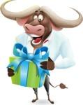 Business Buffalo Cartoon Vector Character - with Gift box