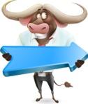 Business Buffalo Cartoon Vector Character - with Positive arrow