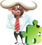 Business Buffalo Cartoon Vector Character - with Puzzle