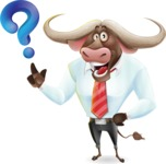 Business Buffalo Cartoon Vector Character - with Question mark