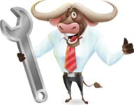 Business Buffalo Cartoon Vector Character - with Repairing tool wrench