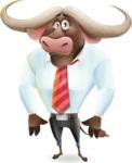 Business Buffalo Cartoon Vector Character - with Sad face