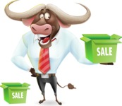 Business Buffalo Cartoon Vector Character - with Sale boxes