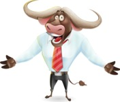Business Buffalo Cartoon Vector Character - with Stunned face