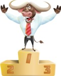 Business Buffalo Cartoon Vector Character - with Success on Top