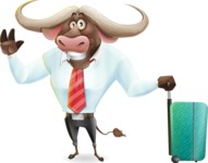 Business Buffalo Cartoon Vector Character - with Suitcase