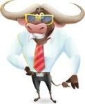 Business Buffalo Cartoon Vector Character - with Sunglasses