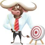 Business Buffalo Cartoon Vector Character - with Target