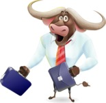 Business Buffalo Cartoon Vector Character - with Two briefcases
