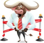 Business Buffalo Cartoon Vector Character - with Under Construction sign