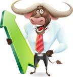 Business Buffalo Cartoon Vector Character - with Up arrow