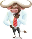Business Buffalo Cartoon Vector Character - Yawning