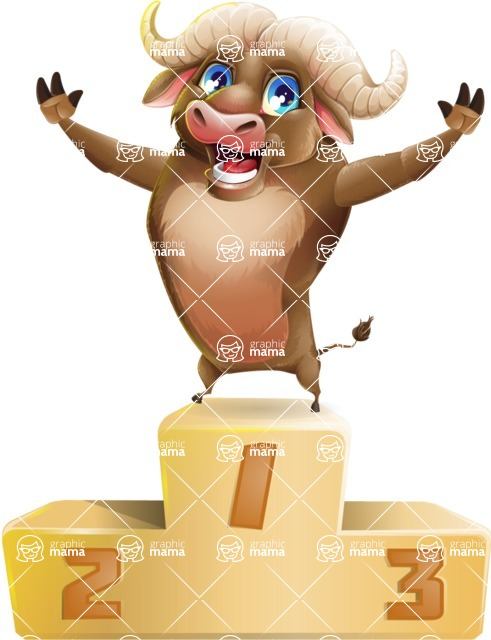 funny buffalo cartoon character 100 poses set with success on top graphicmama graphicmama