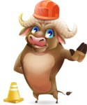 Funny Buffalo Cartoon Character - as a Construction worker