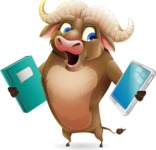 Funny Buffalo Cartoon Character - Choosing between Book and Tablet