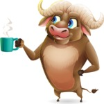 Funny Buffalo Cartoon Character - Drinking Coffee