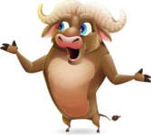 Funny Buffalo Cartoon Character - Feeling Lost