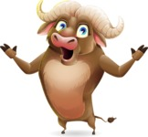 Funny Buffalo Cartoon Character - Feeling Shocked