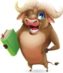 Funny Buffalo Cartoon Character - Holding a book