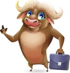 Funny Buffalo Cartoon Character - Holding a briefcase