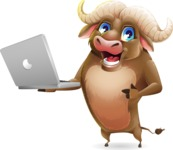 Funny Buffalo Cartoon Character - Holding a laptop
