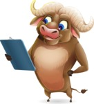 Funny Buffalo Cartoon Character - Holding a notepad