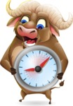Funny Buffalo Cartoon Character - Holding clock
