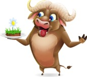 Funny Buffalo Cartoon Character - Holding grass cake