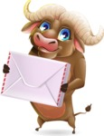 Funny Buffalo Cartoon Character - Holding mail envelope