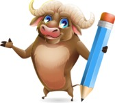 Funny Buffalo Cartoon Character - Holding Pencil