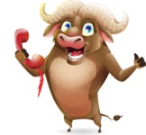 Funny Buffalo Cartoon Character - Holding phone with thumbs up