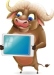 Funny Buffalo Cartoon Character - Holding tablet
