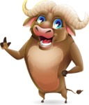 Funny Buffalo Cartoon Character - Making a point