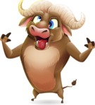 Funny Buffalo Cartoon Character - Making Funny face