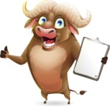 Funny Buffalo Cartoon Character - Making thumbs up with notepad