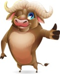 Funny Buffalo Cartoon Character - Making Thumbs Up