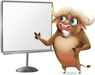 Funny Buffalo Cartoon Character - Pointing on a Blank whiteboard