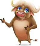 Funny Buffalo Cartoon Character - Pointing with both hands