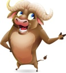 Funny Buffalo Cartoon Character - Pointing with left hand