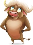 Funny Buffalo Cartoon Character - Rolling Eyes