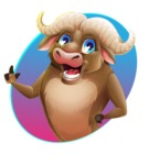 Funny Buffalo Cartoon Character - Shape 1