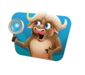 Funny Buffalo Cartoon Character - Shape 4