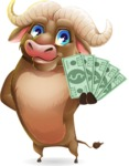 Funny Buffalo Cartoon Character - Show me the Money