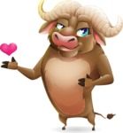 Funny Buffalo Cartoon Character - Showing Love