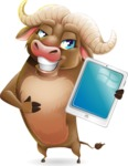 Funny Buffalo Cartoon Character - Showing tablet