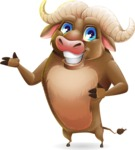Funny Buffalo Cartoon Character - Showing with both hands