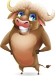 Funny Buffalo Cartoon Character - Smiling