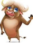 Funny Buffalo Cartoon Character - Waving for Goodbye with a hand