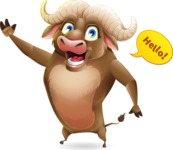 Funny Buffalo Cartoon Character - Waving for Hello with a hand
