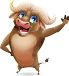 Funny Buffalo Cartoon Character - Waving